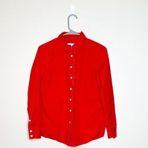 Red Draper James scalloped button up